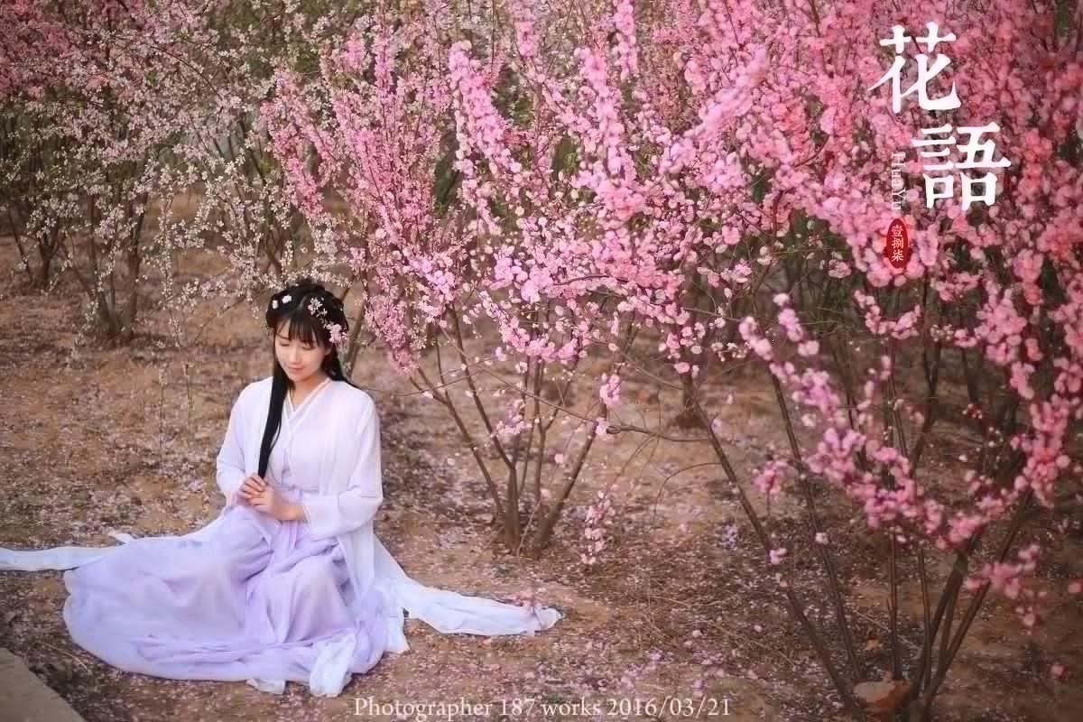 桃花树下的古装美女清纯甜美温馨可人