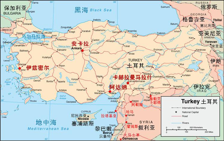 土耳其及热点地区地理位置示意图.
