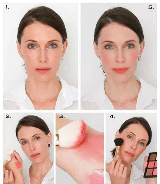 step 1:脸型不够立体的妹纸在画腮红时可以用手指蘸取适量的腮红膏从