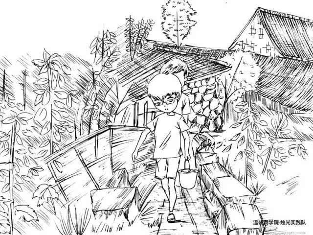 社会实践的手绘漫画刷屏朋友圈,九张图画描绘的是一群学生在农村里
