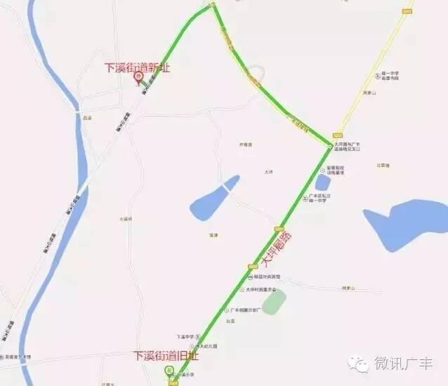 下溪街道旧址至新址路线图