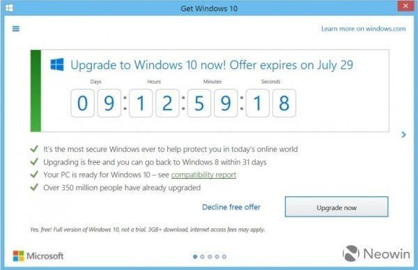 """Get Windows 10″图标开始倒计时:升级服务本月29日结束的照片 - 1"