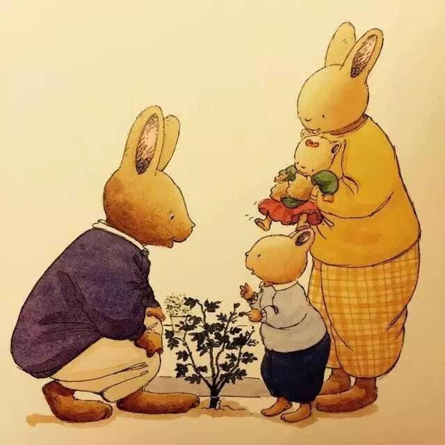 卡通动物妈妈和宝宝