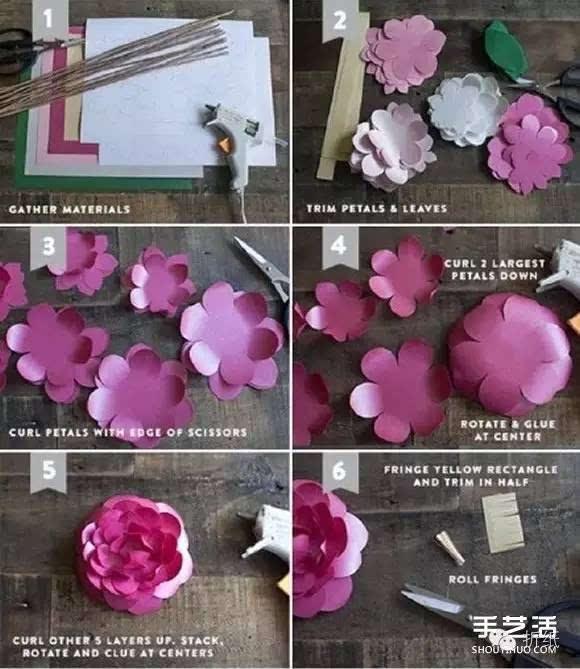 山茶花折纸图解教程 简单手工纸茶花的做法