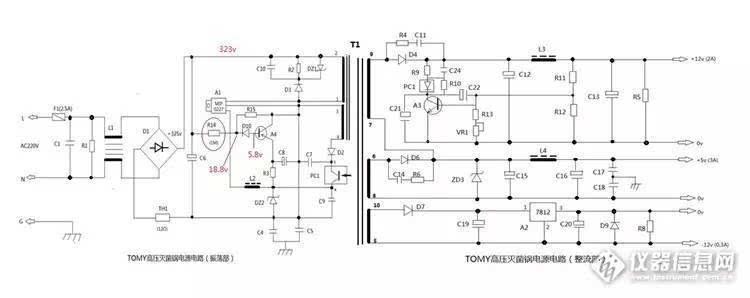 图-11 直流电源电路   从图-11不难看出,电路分为两个部分;左边是震荡升压电路,右边是整流电路。如果仅仅是某一路直流电压没有输出,则是该独立单元的问题。   如果右边的整流电路三路电压全没有输出,则是震荡电路出了问题;在震荡电路中,最容易出现问题的就是图中A1器件即MIP0227开关电源模块损坏了。   (6)除此以外,引起高压锅不升温的因素还有几个压合微动开关接触不良的原因,需要仔细鉴别。   后 记: 高压灭菌锅种类繁多,构造也是迥异不同,但是基本原理相似;不外乎就是一个控制部分,一个加热