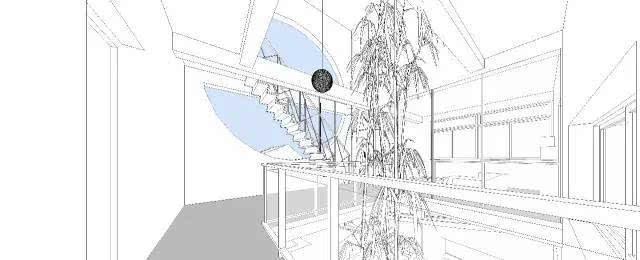 竹子建筑手绘稿