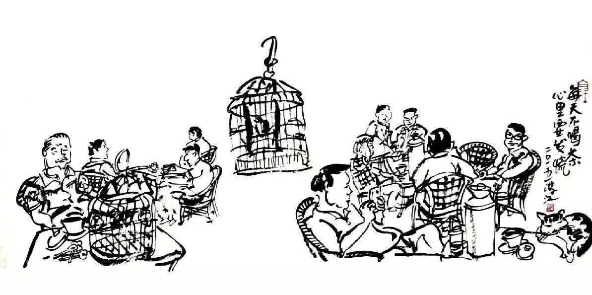 中式茶馆手绘线稿