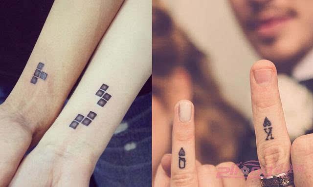 简单的秀甜蜜就秀情侣纹身图案