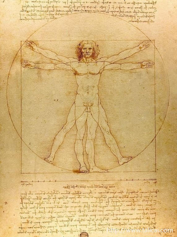 达芬奇关于人体比例的作品《维特鲁威人》。达芬奇依照维特鲁威的描述画了《建筑人体比例图》,在代表宇宙秩序的方和圆中,放入了一个人体。 4. 爱因斯坦说真正的科学和真正的艺术需要同样的思维过程。科学与艺术在很多研究中相铺相成,相互指导,共同达到彼此的创作高峰。 《勇士》和《伊戈尔王子》的作曲家是最早制成苯甲酰氯的化学家,原子论的创始人德谟克利特被马克思称为实验自然科学家和第一个博学多才的希腊人,他同时又是一位杰出的哲学家和美学家,写下《论诗的美》、《论音乐》及《论绘画》等著作。欧洲文艺复兴时期更