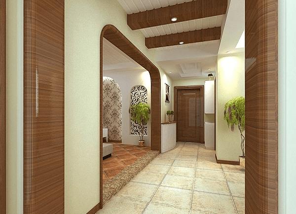 简约风格的门厅装修优雅大方,五彩的地砖拼花独特而不显凌乱,搭配
