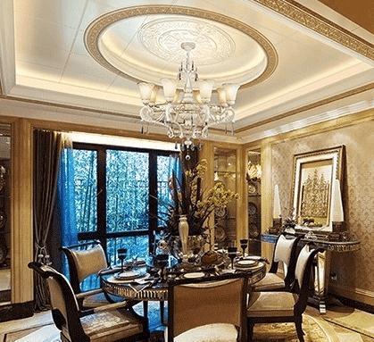 家庭餐厅吊顶效果图四 圆形吊顶美观大方,也更有利于灯光的扩散,华