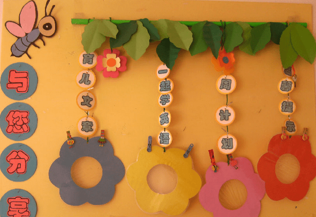 家园互动,教师风采,宝贝加油站 简单的颜色视觉效果并不差,纸板与麻绳