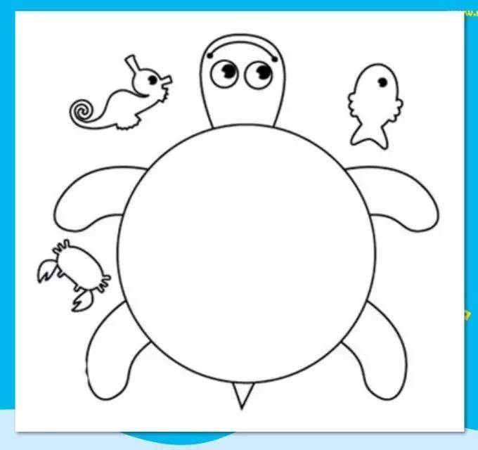白色卡纸上画出乌龟的形状,很简单哦,只要画一些圆圈,变弯的长方形就图片
