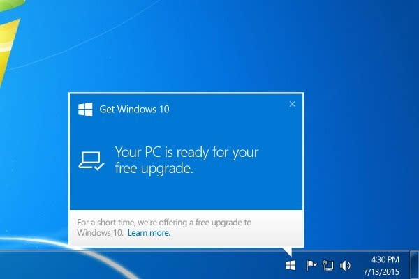 Windows 10系统免费午餐明日终结的照片