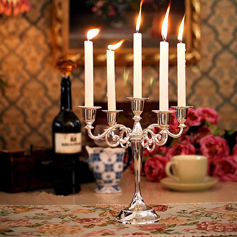 银色月光结婚礼物烛台欧式复古金属镀银5头烛台