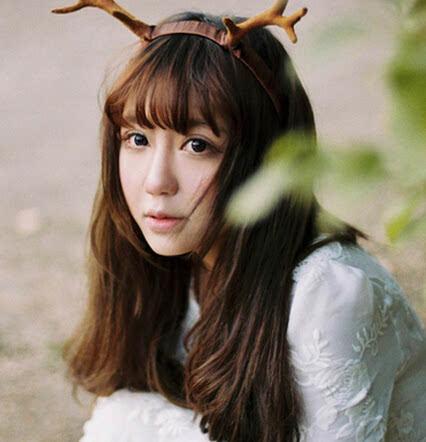 森女齐刘海发型图片