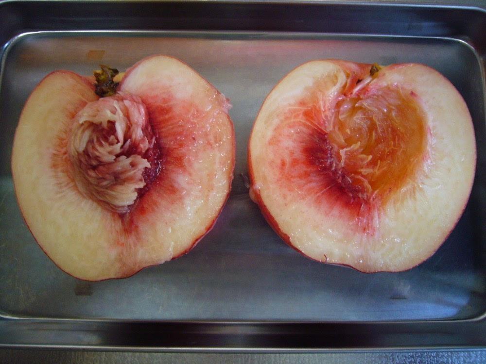 2.将桃核挖出来,并在桃子切面上挤上柠檬汁,防止v桃核.美食一条街门门头图片