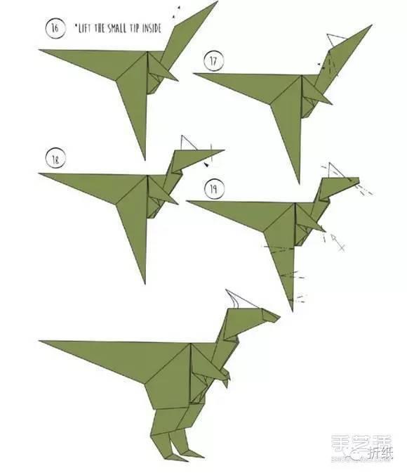 跟大家分享折纸霸王龙的图解教程,巨大的脑袋,小小的前肢,充满力量的