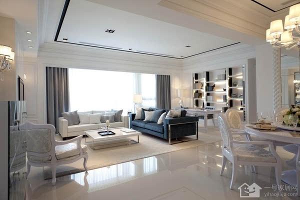 白色简欧风格装修效果图一   白色简欧风格装修的客厅结构简单、家具布置的也不复杂。15平米的客厅中只摆放了简单的沙发、茶几、书架和电视柜。在靠近飘窗的位置放置了一把透明靠背椅,闲暇时间你的天地。