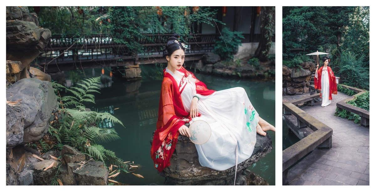 红衣白裙古装美女