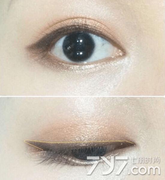 适合不懂画眼线的新手可以使用眼影来练习