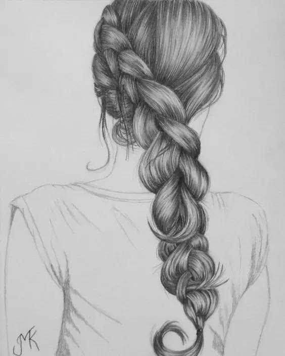 扎马尾女生头像手绘