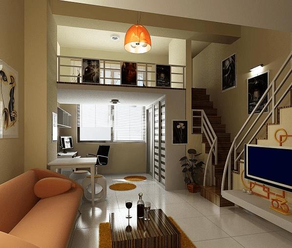 小户型复式楼装修效果图二 小户型的装修要在有限的空间中既能满足生活需要,也要体现设计。这就要求设计必须有整齐的设计而不显得凌乱。整体装修以白色和浅黄色为主,墙体和天花统一用浅黄色,但是地板选用白色的磁砖,原则上还是选用比地板深颜色的天花较好。希望通过暖色调来为装修提升格调,家具和小装饰都用了较为明亮的颜色。