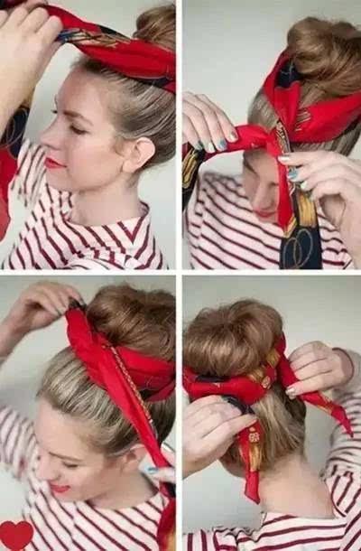 丝巾的头发系法图解