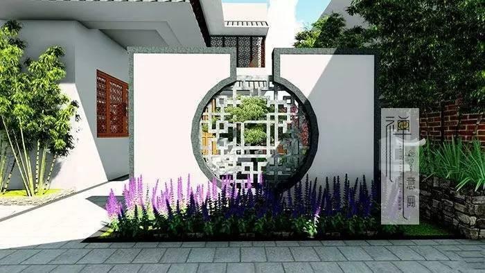 中式入口景观设计|新中式入口广场景观图片