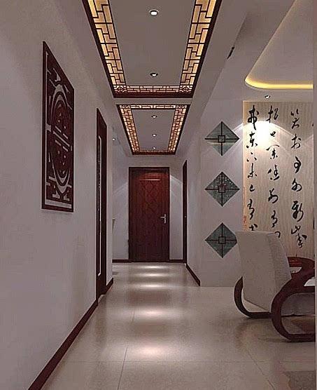 中式过道装修效果图:中式古典走廊吊灯图片
