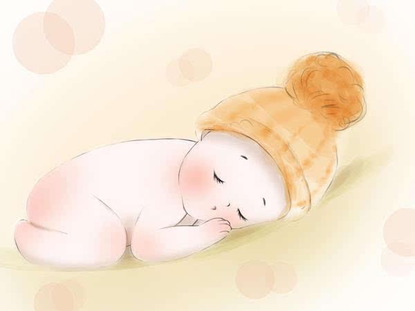 婴儿爬着的手绘图片