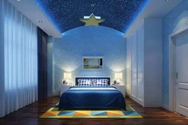儿童卧室星空手绘
