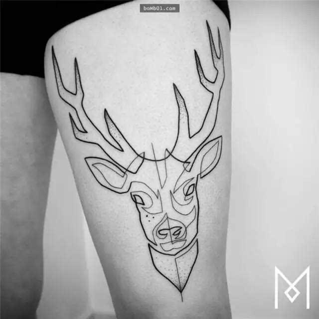 鹿手绘纹身简单