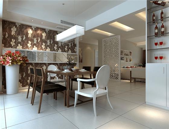 客厅隔断装修效果图一 依靠普通的建材也能实现隔断,最简单的方式,莫过于直接通过区分地面的方法来进行。由于人视觉的关系,地面是进行象征性区分最好用的区域,比如在不同的空间铺设不同的地板,从材质上或花色上进行划分:例如入门玄关位置的空间,可以用特别拼花效果的地砖,以区别和客厅的空间;可以通过铺设一张较大面积的地毯来进行地面空间区分。