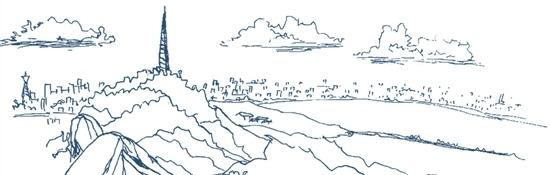 手绘杭州宋城图