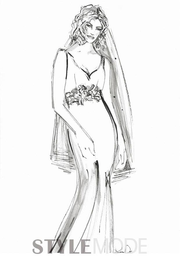 鱼尾婚纱简笔画步骤