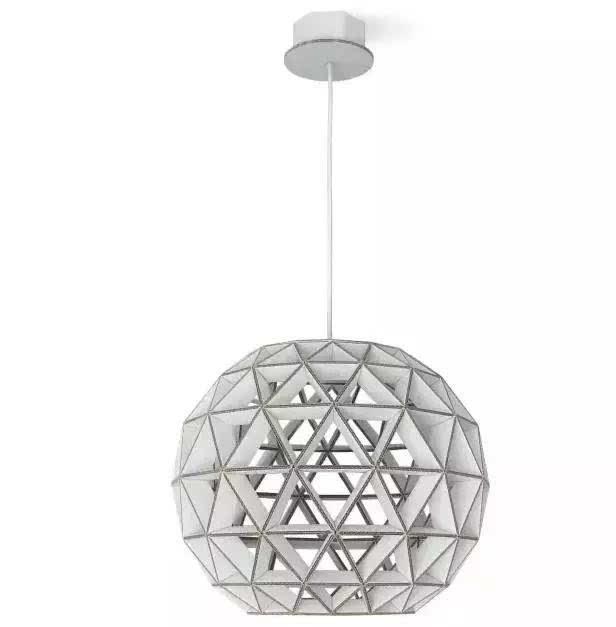 dmitry litz 设计了一系列硬纸板吊灯,每款吊灯的灯罩结构简约,但表面