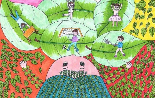 城市卫生手绘儿童