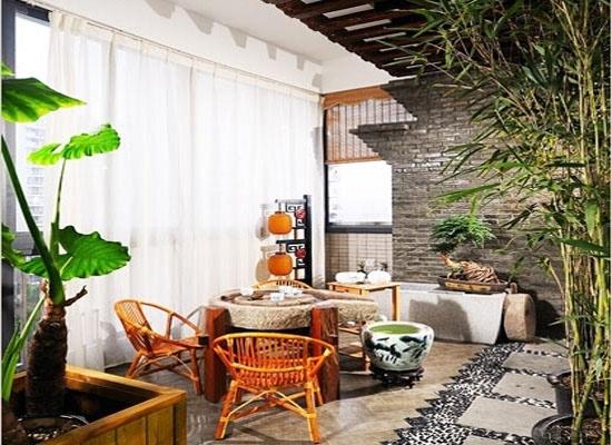 书香花香茶香溢满阳台 中式阳台装修图片