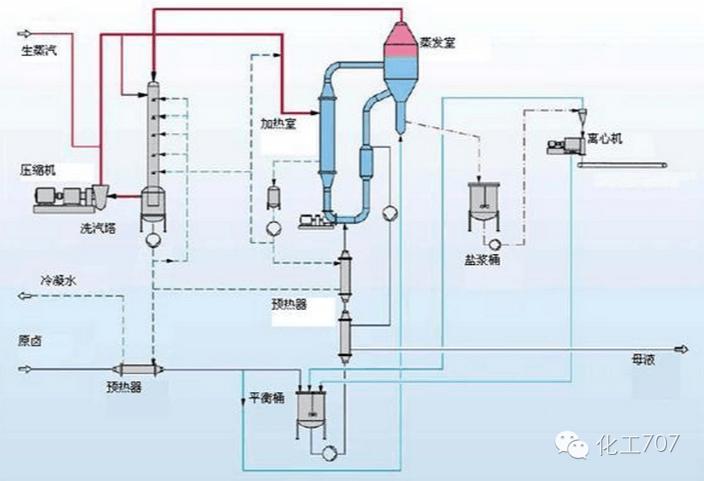 分离出的蒸汽进入压缩机内,而分离出的浓缩液则被直接回流至收集罐内