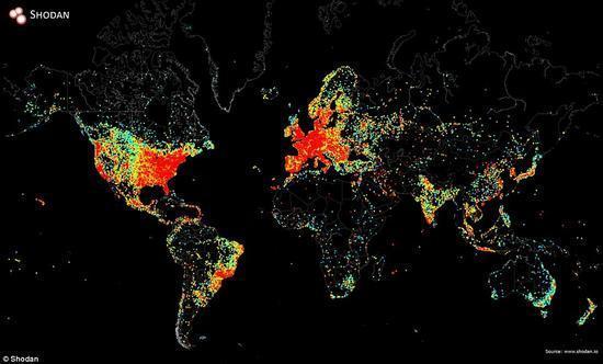 """一张图反映出""""互联网接入设备""""在全球覆盖情况的照片 - 1"""
