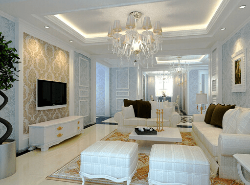 简约欧式风格装修的客厅是不是很有味道呢,大方且整洁,简单却不失单