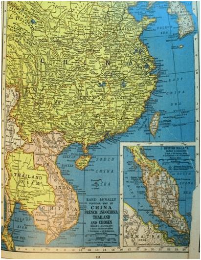 1937年美国《兰德·麦克纳利世界地图集》中《中国,法属印度支那,泰国