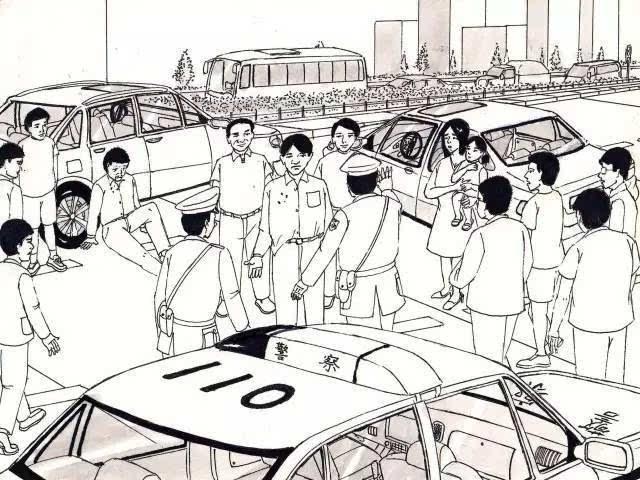 群众围观的手绘插画
