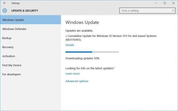 Windows 10累计更新KB3176493出现无法安装问题的照片