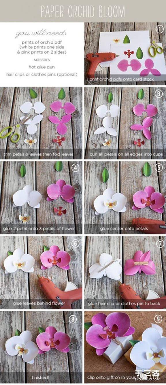 手工兰花的制作方法 卡纸兰花的折法图解教程