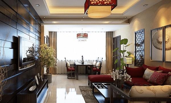 客厅电视背景墙以质感木条搭建出层次感,在中式风格建筑设计中,木板