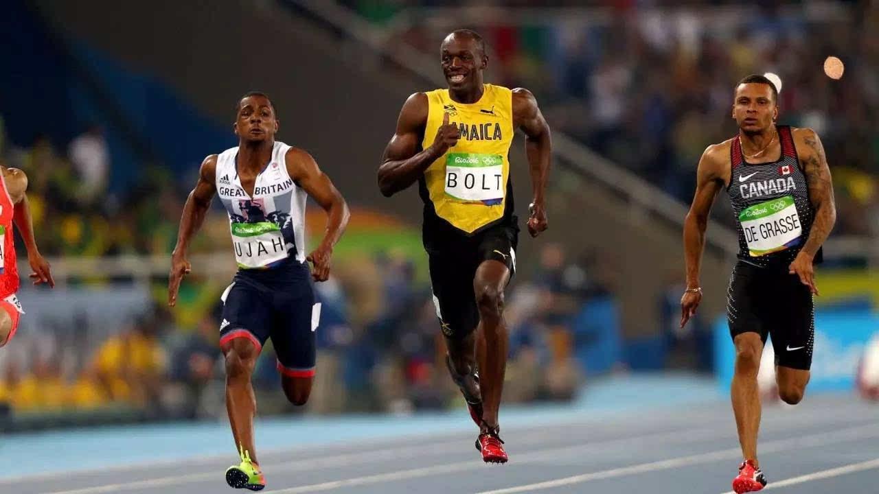 2016年里约奥运会100米半决赛,博尔特获胜时的微笑图片