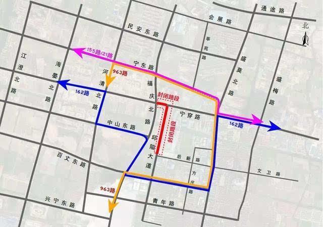 963路 963路汽车东站至雅戈尔动物园北门公交线路改道运营: 改道走向
