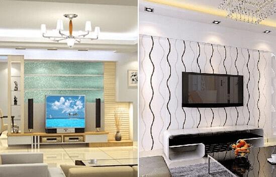 电视墙装修效果图三:玻璃与金属材料电视墙装修